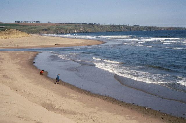 The beach at Lunan Bay