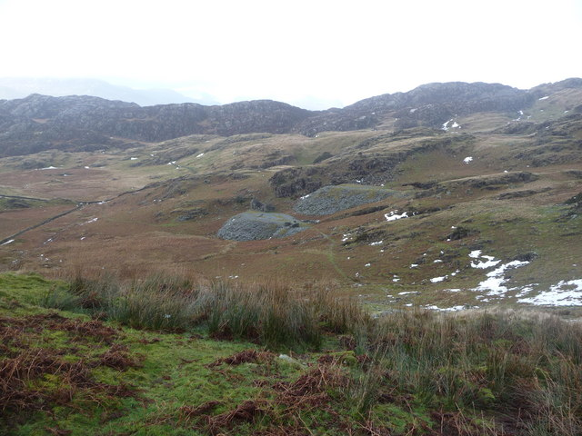 Disused quarry workings below Cnicht