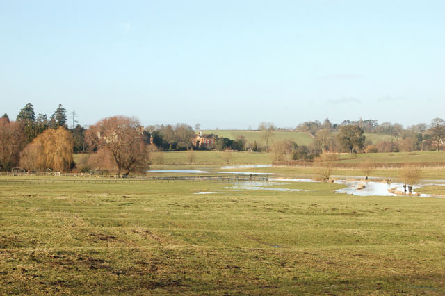 Looking northwest across flooded fields east of Birdingbury