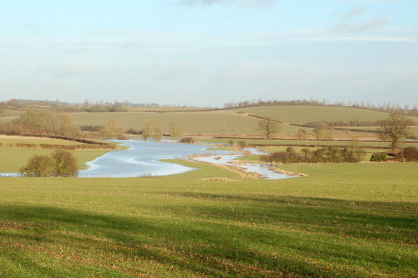 River Leam flooding fields north of Leamington Hastings