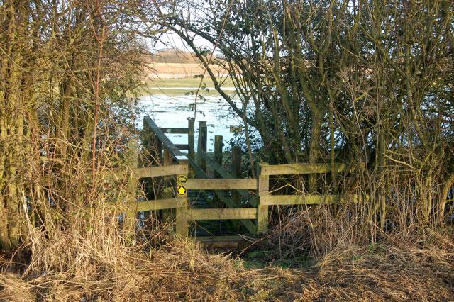 Footpath bridge into a flooded field beside A426, Kites Hardwick
