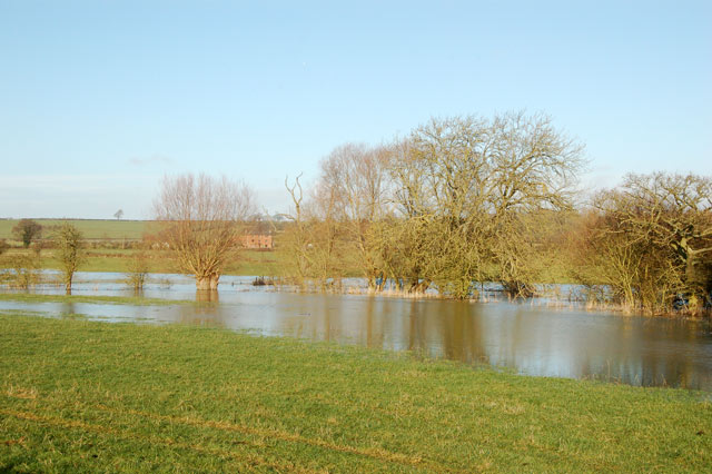 Flooded water meadow beside the River Leam near Marton