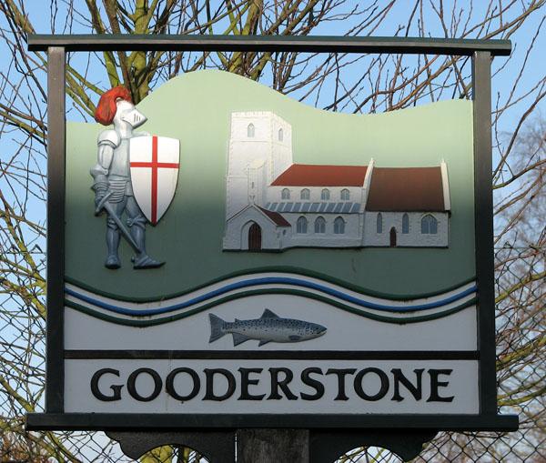 Village sign, Gooderstone (close-up)