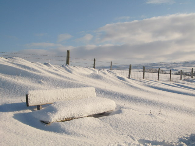 Snowy bench on the Sinderhope road
