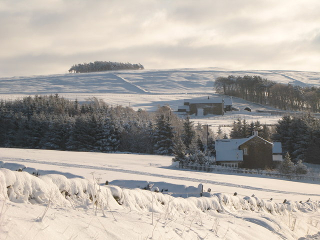 Snowy pastures around Low Parkgates and Park Gates Farm