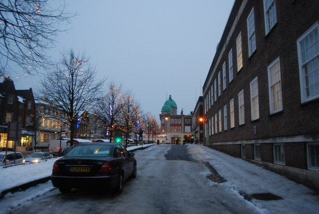 Icy road outside the Town Hall