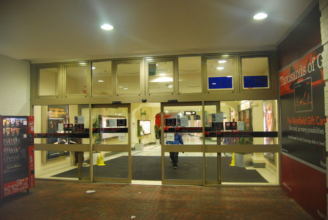Entrance to the Royal Victoria Place shopping centre, Goods Station Rd