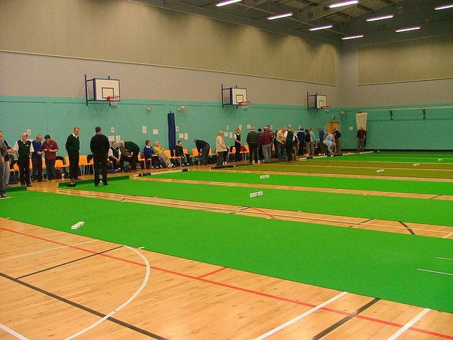 Indoor bowling at Portree High School