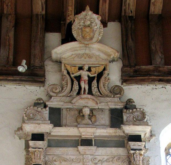 All Saints church - C17 wall monument (detail)