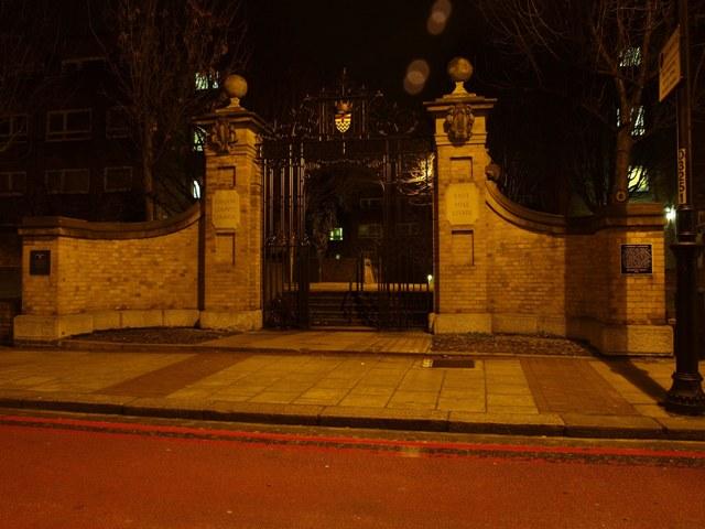 Restored gates of former Fishmongers Almshouses