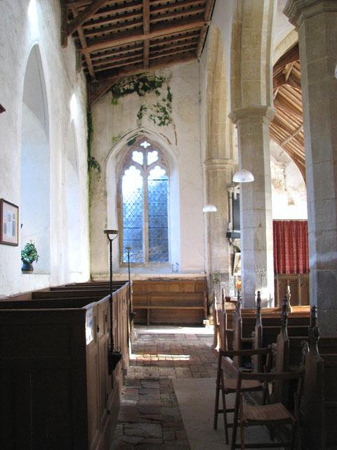 All Saints church - north aisle with C18 box pews