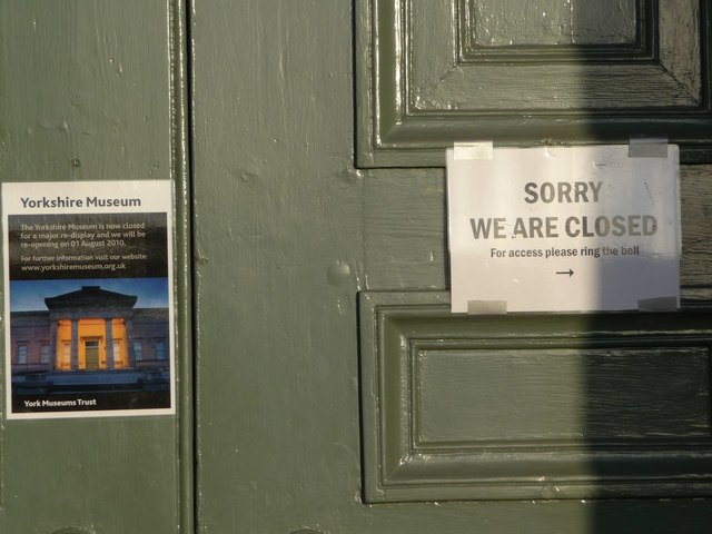 Signs on door of the Yorkshire Museum