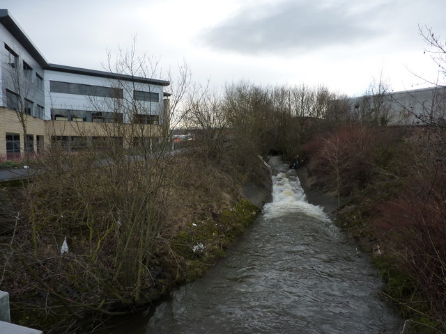 River Hipper reaches central Chesterfield