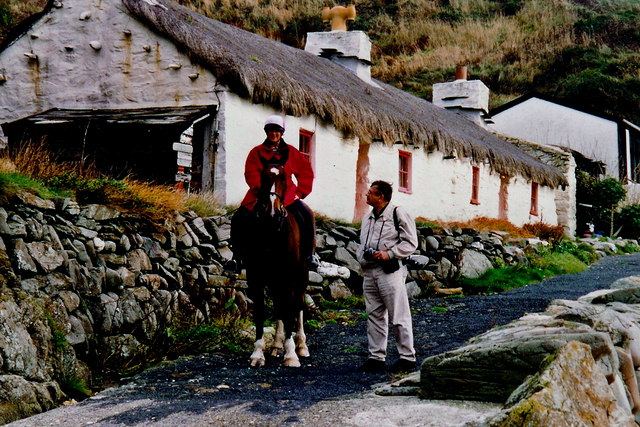Niarbyl - Horse back rider and thatched cottage