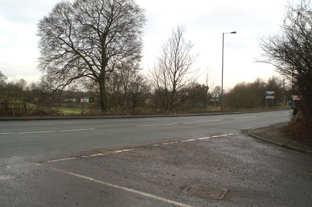 Junction of Hermitage Green Lane with the A49 Newton Road