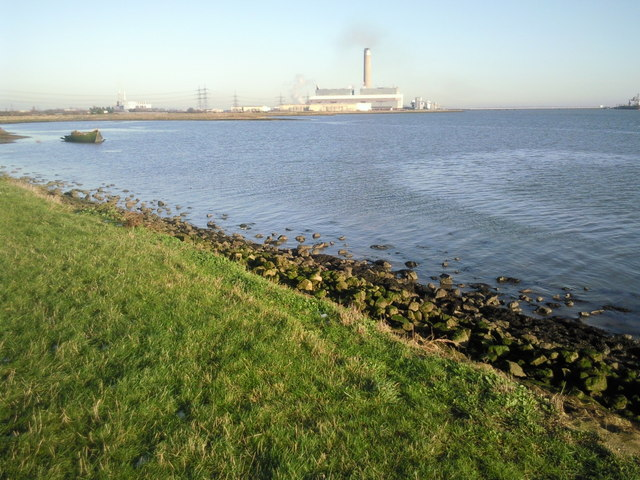 Hoo Flats at high tide and Kingsnorth Power Station