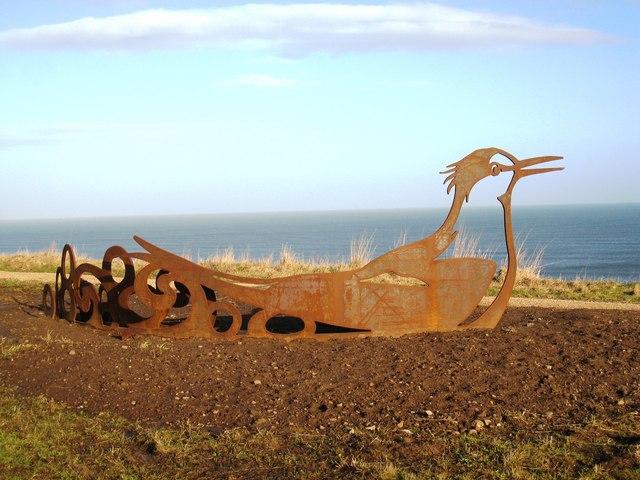 Iron bird-sculpture