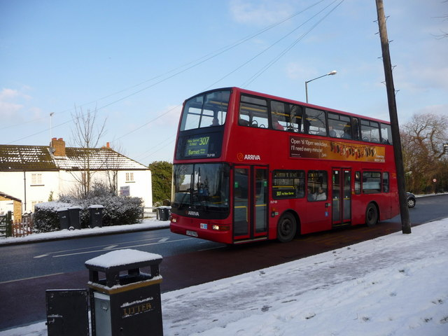 307 Bus at Bus stop, Bramley Road, London N14
