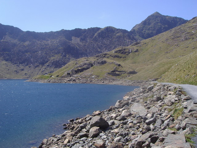 Derelict mine buildings on the shores of Llyn Llydaw