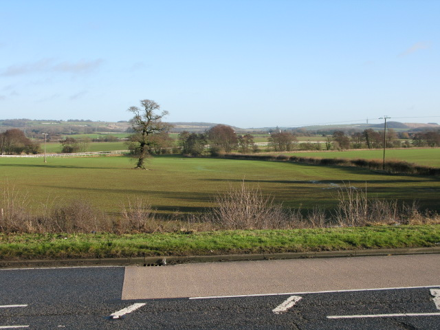 Farmland and Folkestone race course from the A20