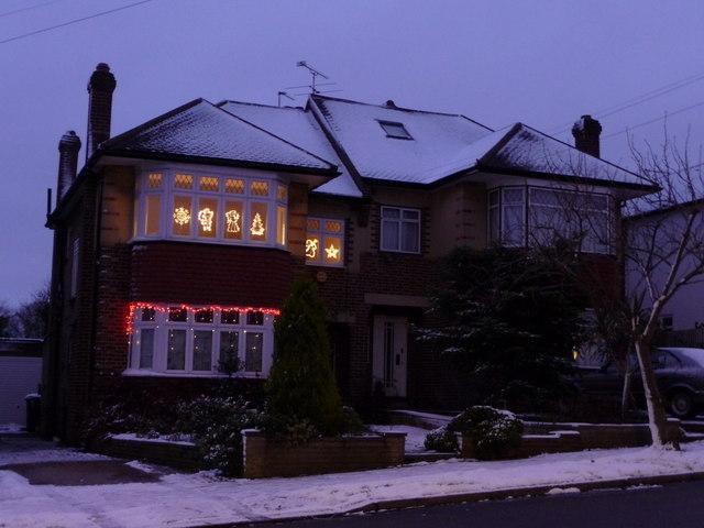Christmas Lights on House in Kenwood Avenue, London N14
