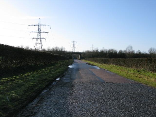 View along Church Lane towards the M20 motorway bridge