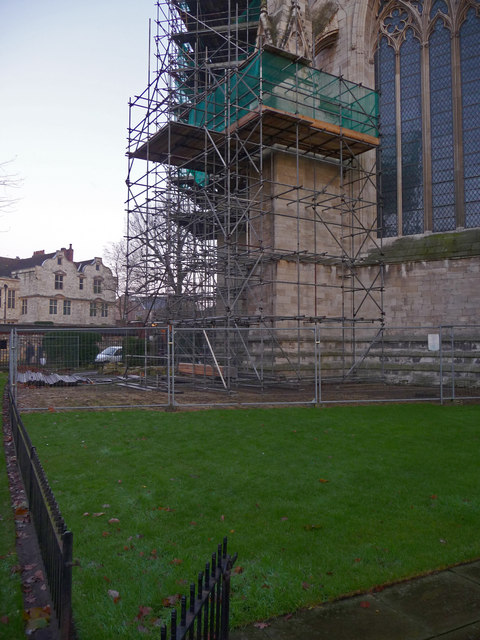 Scaffolding on east front of York Minster