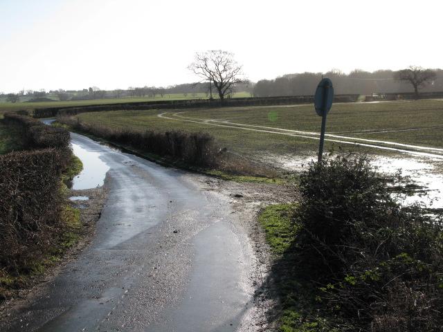 View along Church Lane towards Aldington church