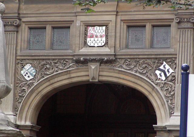Gibney Building main entrance crests