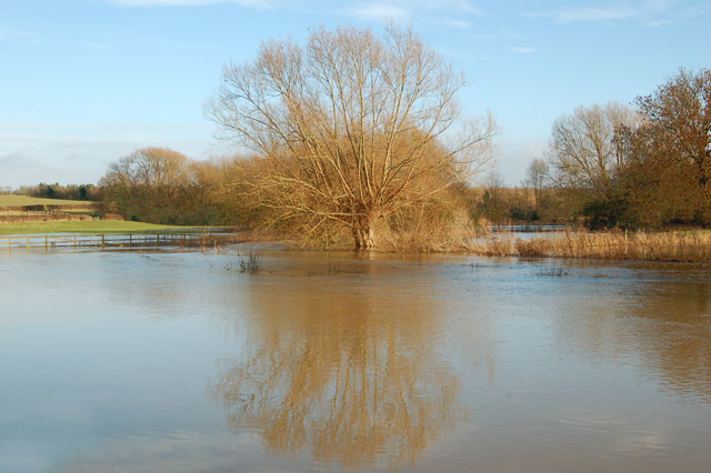 Flooded meadows east of the A423 at Marton