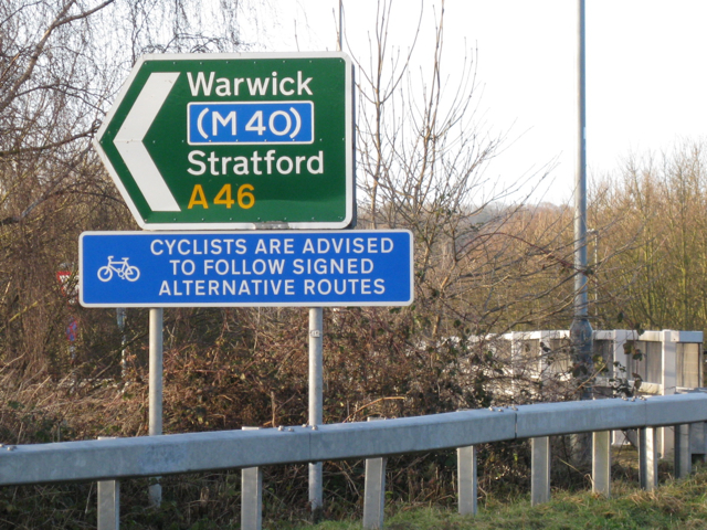 Sign, sliproad to A46 southbound
