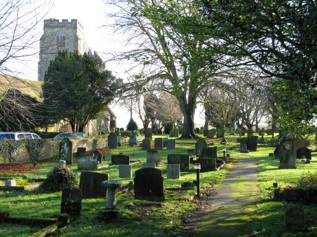 Church path at St Martin's, Aldington