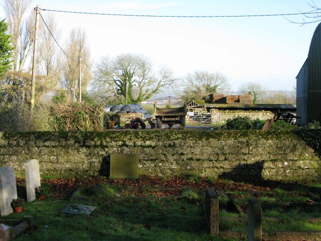 Court Lodge Farm yard over the church wall