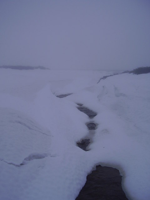 Deep snow on the Cut gate path.