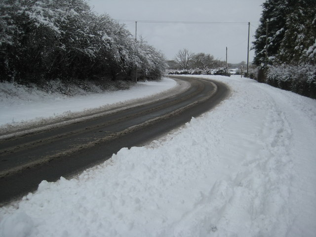 Snow on the A4104