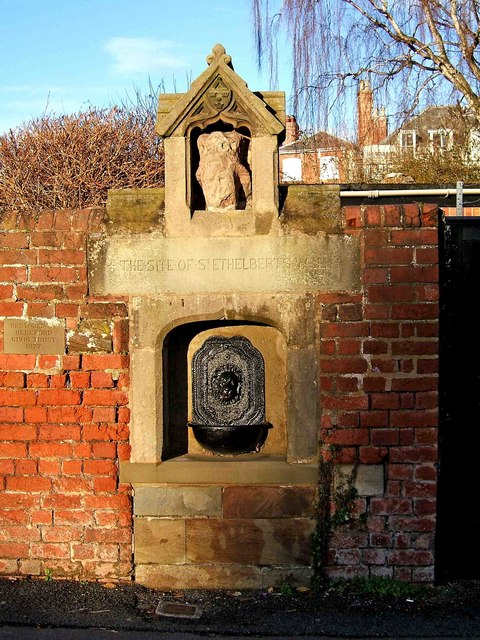 Drinking fountain on site of St. Ethelbert's Well, Castle Hill