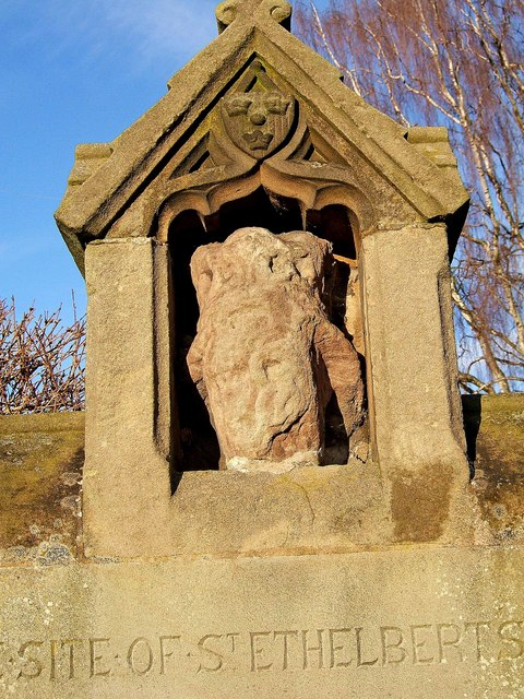 Carved head at site of St. Ethelbert's Well, Castle Hill