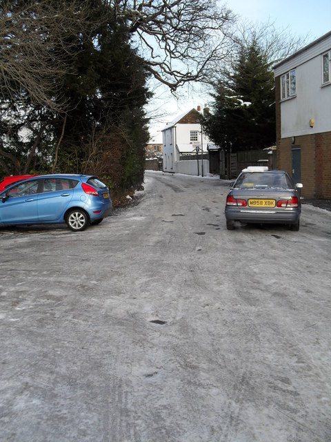 Treacherous conditions on the slip road from the One Stop to Southleigh Road