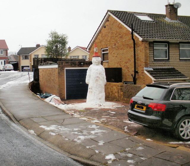 Doomed snowman, Laurel Crescent ,Malpas, Newport