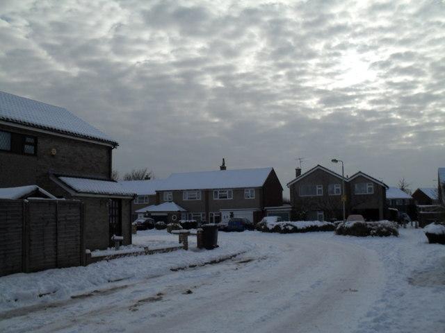 A snowy scene in Luard Court