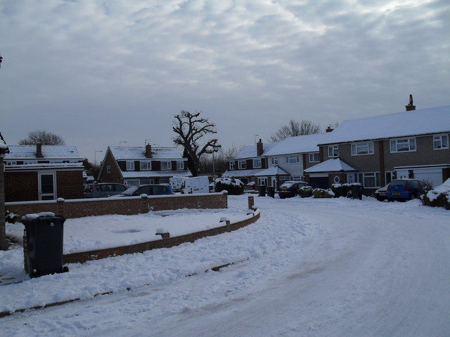 Snow covered homes in Luard Court