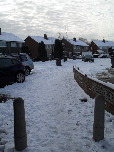 Snow covered homes in Bedford Close