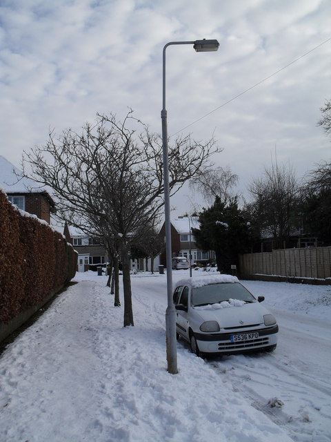 Lamppost in  a snowy Pembury Road