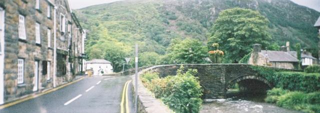 Beddgelert - view of a bridge in the village centre