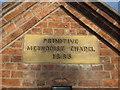 SJ4469 : Plaque on the Primitive Methodist Chapel, Mickle Trafford by John S Turner
