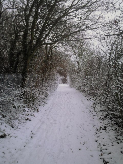 Old trackway in snow at Woodlands Farm