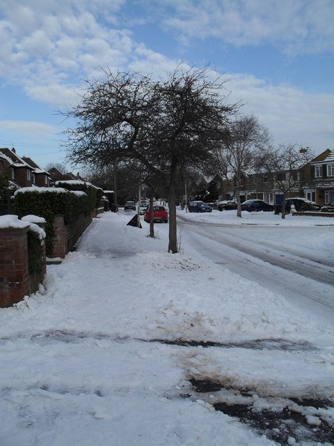 Looking from Pembury Road across Pook Lane towards Bedford Close