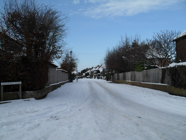 Looking from Pook Lane into a snowy Granville Close