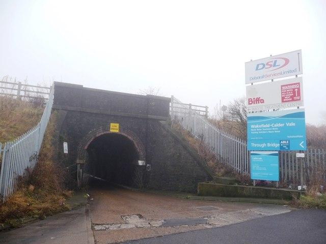 Minor road to sewage works, off Calder Vale Road