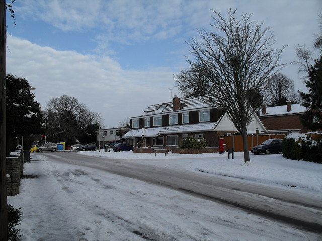 Looking up a snowy Pook Lane towards Tavistock Gardens